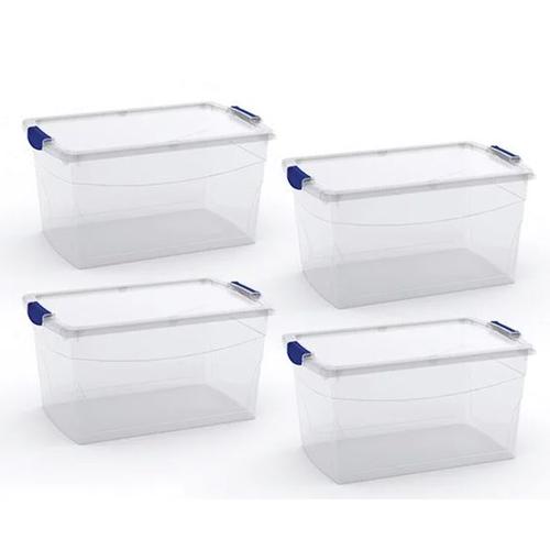 רביעיית קופסאות אחסון שקופות עם סגר מבית KETER
