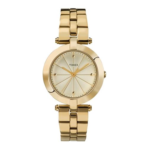 שעון יד מוזהב מעוצב אלגנטי לאישה מבית TIMEX
