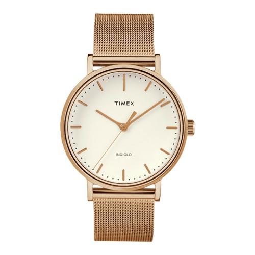 שעון יד מוזהב אנלוגי מעוצב לאישה מבית TIMEX