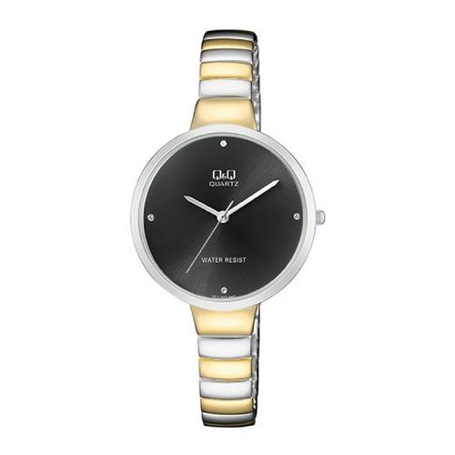 שעון יד אנלוגי מוזהב במראה ייחודי לאישה מבית Q&Q