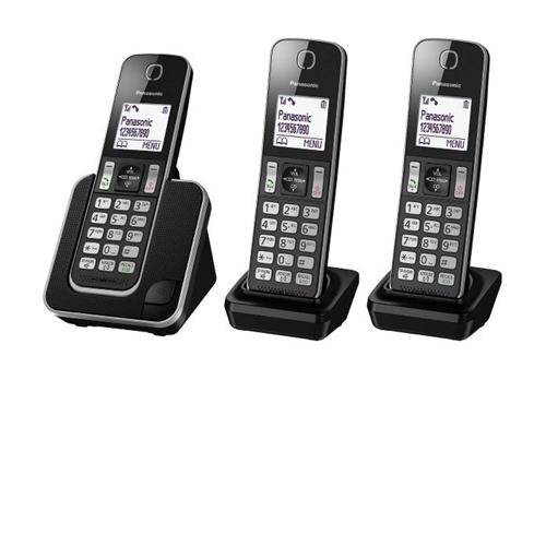 """טלפון אלחוטי + 2 שלוחות צג מואר 1.8"""" KX-TGD313MBB"""