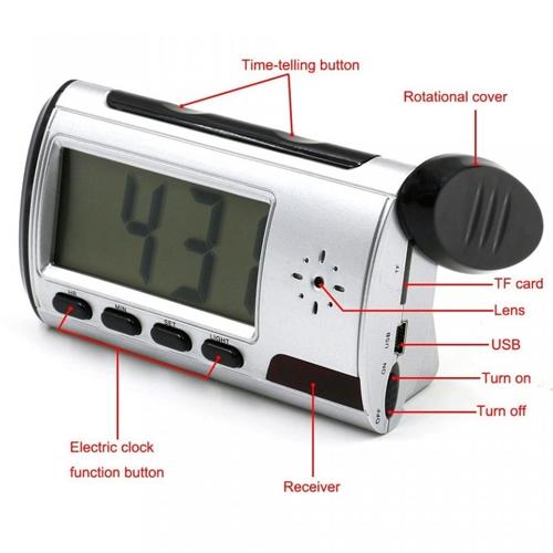 שעון מעורר דיגיטלי עם מצלמה נסתרת וחיישן תנועה