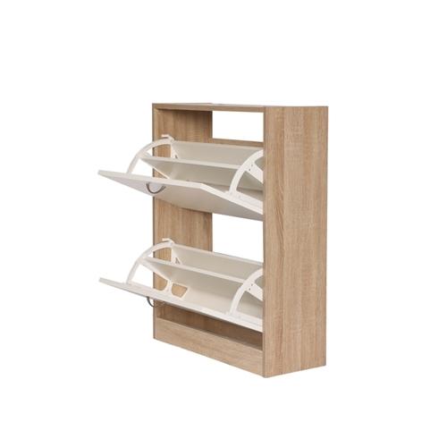 ארון נעלים 2 תאים צבע לבן משולב עץ מבית H.KLEIN