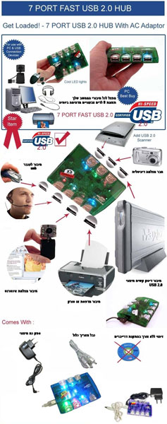 מפצל USB 2.0 ל 7 כניסות כולל ספק כח ותצוגת לדים