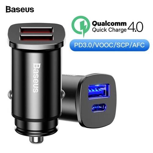 מטען רכב BASEUS TYPE C PD + QC4.0 תומך טעינה מהירה