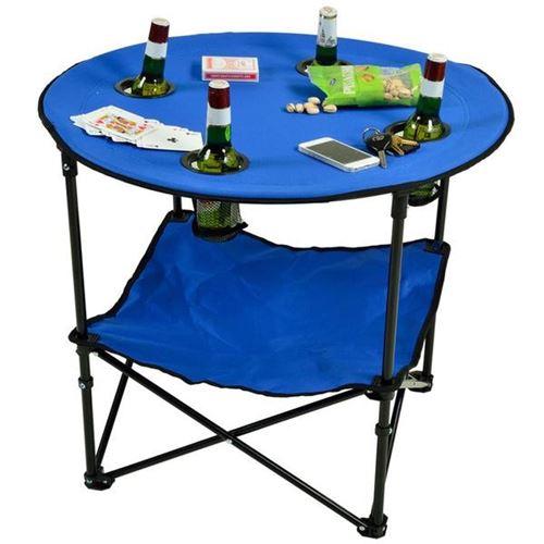 שולחן קמפינג מתקפל עם מקום לכוסות ושתייה
