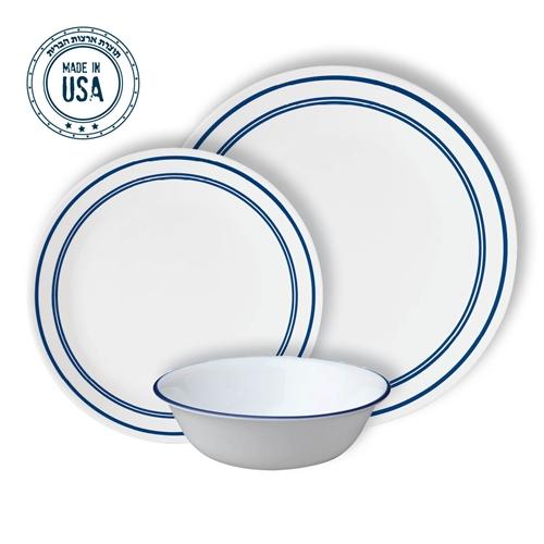 """סט צלחות 36 חלק של קורנינג Classic CAFÉ blue+סכו""""ם"""