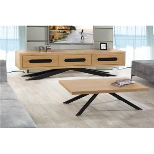 סט מזנון ושולחן עשוי מעץ בשילוב פורניר דגם טריפל