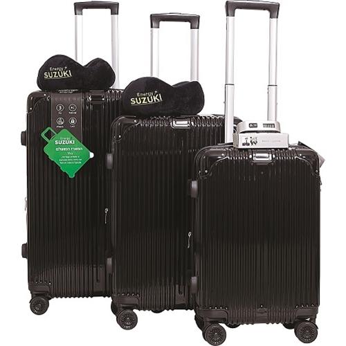 סוזוקי טרמינל סט 3 מזוודות שחור 2 כריות ומשקל