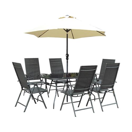 סט גינה שולחן+6 כסאות+שמשיה TORINO