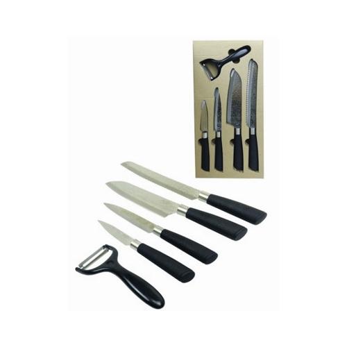 סט 5 חלקים פלטיניום מעוצב, כולל 4 סכינים וקולפן