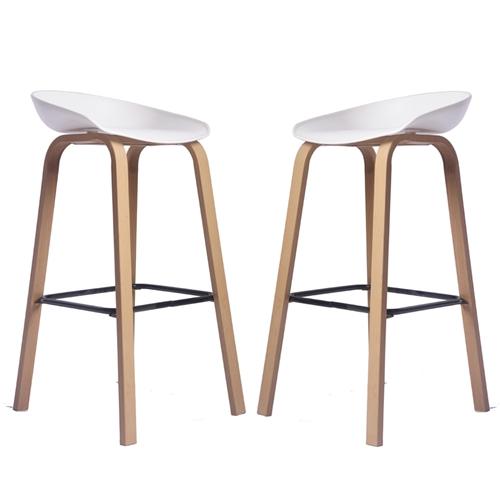 זוג כסאות בר דגם סטיב לבן