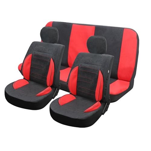 כיסוי מושבים אמילי 8 חלקים אדום שחור