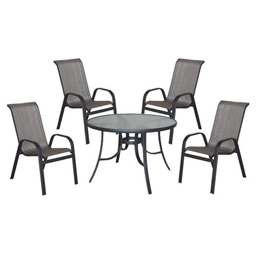 פינת ישיבה לגינה הכוללת שולחן עגול + 4 כיסאות שחור
