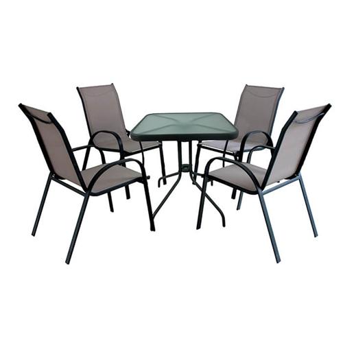 מערכת ישיבה לגינה שולחן מרובע ו-4 כיסאות