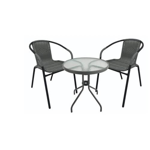 פינת ישיבה לגינה 2 כסאות ראטן שולחן עגול