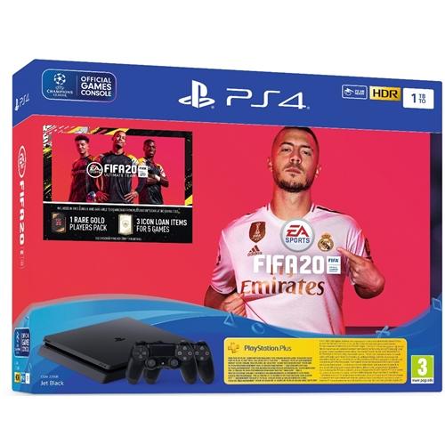 PLAYSTATION 4 SLIM 1TB + שני בקרים ומשחק FIFA20