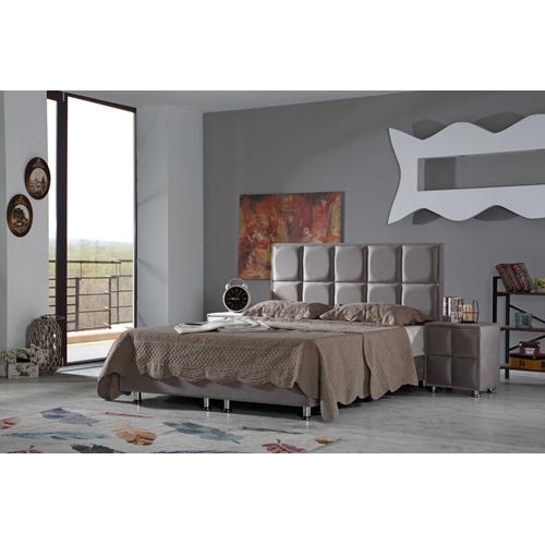 מיטה זוגית מרופדת בד עם ארגז מצעים LEONARDO