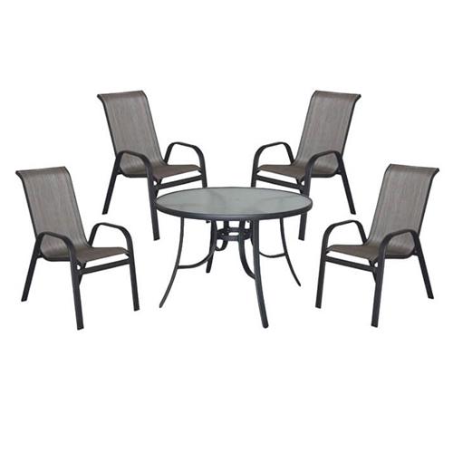 """סט שולחן מתכת וזכוכית קוטר 120 ס""""מ + 4 כיסאות"""
