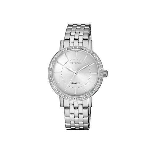 שעון יד אלגנטי לאשה עם אבני סברובסקי מבית CITIZEN