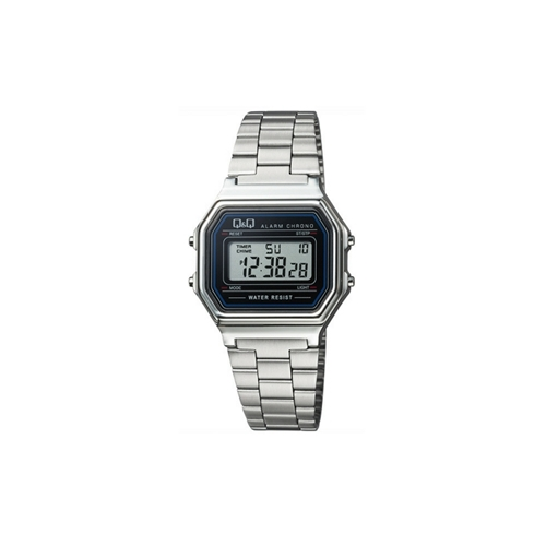 שעון יד דיגיטלי מלבני מוכסף לאישה מבית Q&Q
