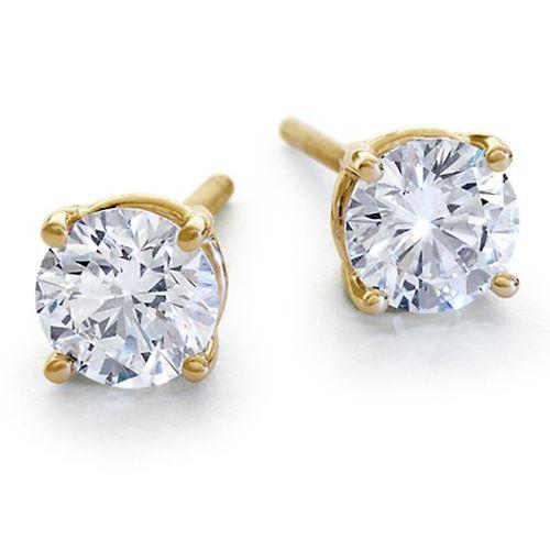 עגילי סוליטר- עגילי יהלומים