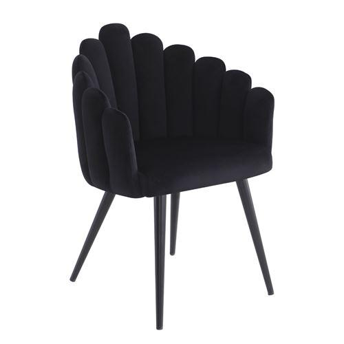 כורסא צדפה מעוצבת עם בד קטיפה ורגלי מתכת