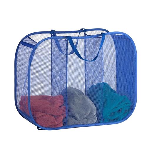 סל כביסה נייד ומתקפל 3 תאים צבע כחול דגם HMP-03892