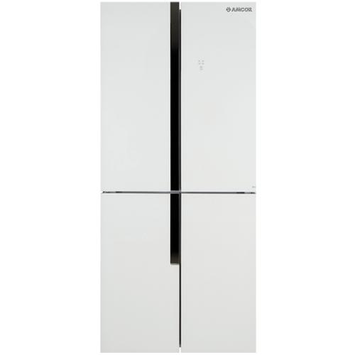מקרר 4 דלתות אמקור אינוורטר זכוכית לבנה AM4500W