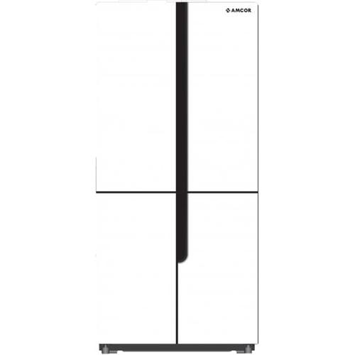 מקרר 4 דלתות אמקור 397 ליטר זכוכית לבנה AM4540W