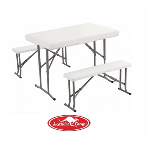 סט מהודר שולחן +שני ספסלים מתקפל לחצר ולפיקניק