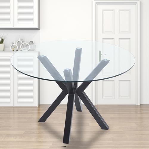 """שולחן אוכל זכוכית עגול 120 ס""""מ עם רגלי מתכת"""