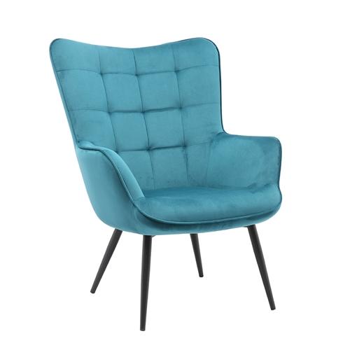 כורסא מלכותית מעוצבת עם רגלי מתכת וריפוד קטיפתי