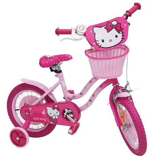 """אופניים לילדים עם גלגלי עזר מידה """"12 - הלו קיטי"""