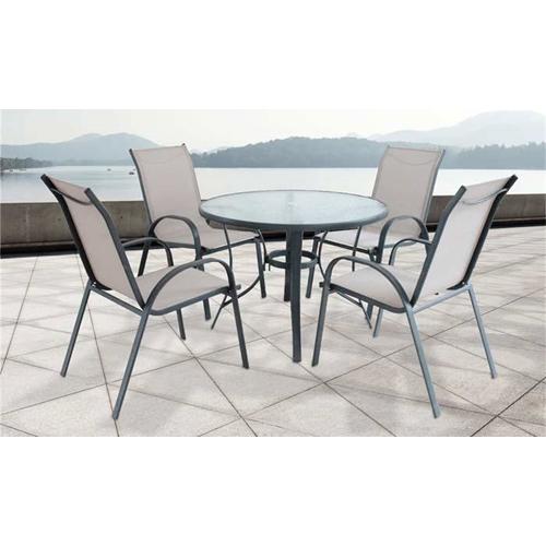פינת ישיבה לגינה הכוללת שולחן עגול + 4 כיסאות אפור