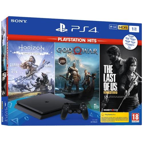 קונסולת PS4 SLIM בנפח 1TB כולל 3 משחקי HITS